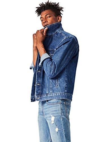 FIND Herren Jacke Dark Denim Jacket, Blau, Medium