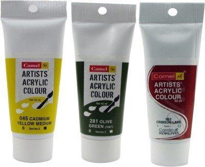 Camlin Kokuyo Acrylic Tubes 40ml- Cadmium Yellow Med, Olive Green & Crimson Lake