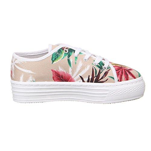 Damen Schuhe Freizeitschuhe Farbige Plateau Sneakers Weiß