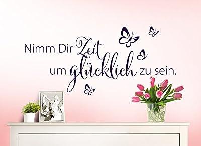 Wandaro® W3307 Wandtattoo Spruch Nimm Dir Zeit um glücklich zu sein schwarz 80x30cm