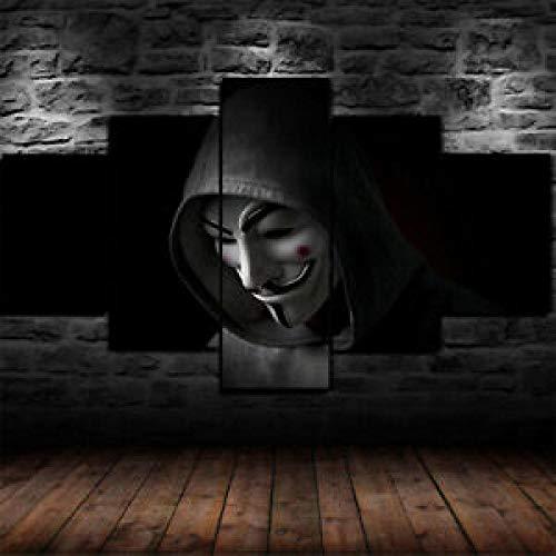 GIRDSS Kunstdrucke Leinwanddrucke Kreatives Geschenk 5 Stück Leinwand Bilder Moderne Wandbilder XXL Wohnzimmer Wohnkultur Gerahmtes *Anonymer Hacker Im Sweatshirt