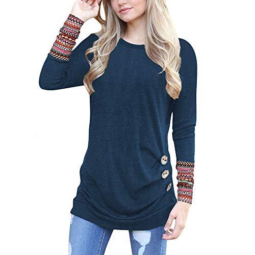 Mädchen Von Teenager Kostüm Gruppe - Damen Frauen Teenager Mädchen Langarmshirt MYMYG Lose Knopfleiste Bluse Solid Rundhals Tunika T-Shirt Pullover Streetwear Herbst Winter Top Bluse Shirt (B4-Marine,EU:38/CN-L)