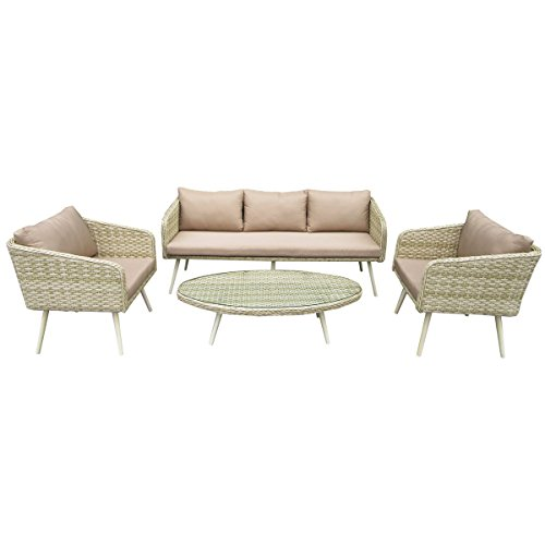 Möbel Lounge Patio (Charles Bentley Milano Premium Rattan Lounge Set im Freien wetterfeste Garten Patio Conservatory Möbel - Natursand)