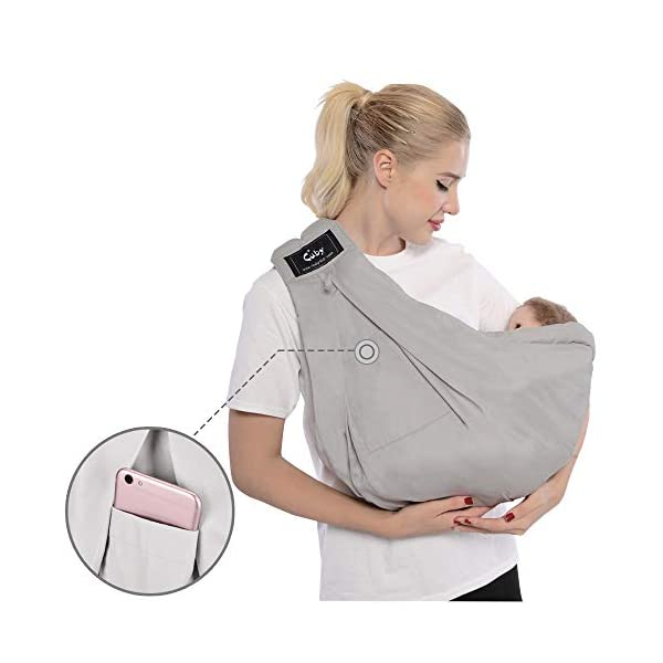 Cuby Baby Slings Carrier for Newborns and Breastfeeding (Grey) CUBY Durable Weight Baby Sling:Designed to carry babies who are 0 to 36 months old and weighing no more than 44 pounds. Five Different Carrying Positions: Including two perfect and convenient for breastfeeding. Cuby's baby carrier allows you to carry your baby in the same position they used in the womb, gives your baby a familiar sense of security and makes it easy for you to enjoy eye contact to bond with your new bundle of joy. Premium Cotton: The baby carrier by Cuby is made of 100% high quality cotton. It is soft, skin-friendly and breathable. 3