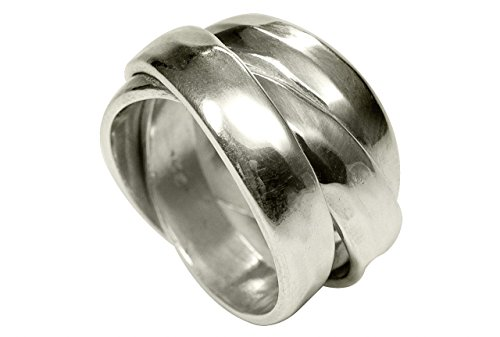 SILBERMOOS XL XXL Ringe in großen Größen Damenring Herrenring Partnerring dreifach gewickelt glänzend gehämmert handgeschmiedet Sterling Silber 925 Größen 64, 66, 68, 70, Größe:68 (21.6)