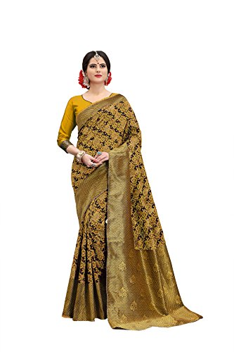Vrati Fashion Women's Banarasi Silk Musterd Saree With Blouse Piece(1002 sunflower-musterd)