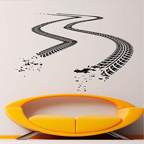 Tracce Di Pneumatici Adesivo Auto Trail Adesivo Vinile Strada Da Corsa Decorazioni D'Arte Per La Casa Camera Dei Bambini Garage Decorazione 64X42Cm Adesivo Murale