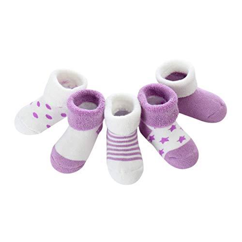DEBAIJIA Niños Niñas Calcetines De Algodón Cómodo Suave Jogging Absorben el Sudor Antibacteriano Engrosamiento de otoño e invierno Color Púrpura 0-1 Año viejo (Pack de 5 Pares)