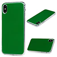 MAXFE.CO iPhone X Case Pure Color TPU + PC Hybrid Cover Case Drop-Protection Design Bumper Shockproof Grip Case for iPhone X - Green