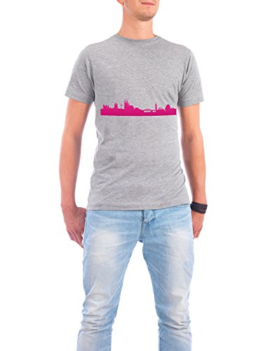 "Design T-Shirt Männer Continental Cotton ""Köln 04 Pink Skyline Print monochrome"" - stylisches Shirt Abstrakt Städte Städte / Köln Architektur von 44spaces Grau"