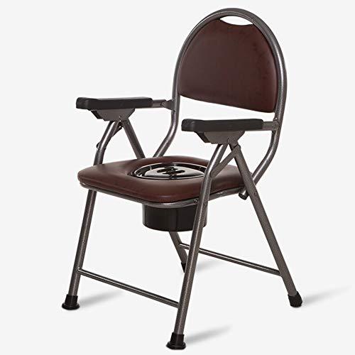 Toilettenstühle faltbar,Bariatric 3 in 1-Kommode, Toilettensteig mit Fallarm, tragbarer Toilettensitz, braun, Tragkraft 100 kg -
