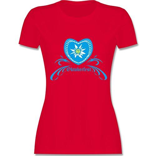 Shirtracer Oktoberfest Damen - Oktoberfest - Herz mit Edelweiss - Damen T-Shirt Rundhals Rot