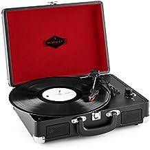 Auna Peggy Sue tocadiscos retro (USB, altavoces estéreo integrados, salida RCA, digitalizador LP) - negro