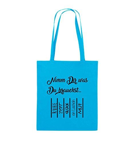 Comedy Bags - Nimm Dir was Du brauchst - ABREIßZETTEL - Jutebeutel - lange Henkel - 38x42cm - Farbe: Schwarz / Pink Hellblau / Schwarz