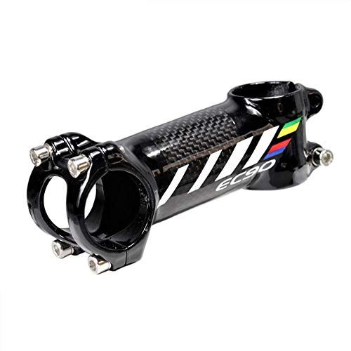 QWERDF MTB 31,8 6 Grad Carbon-Faser-Light Weight Fahrrad-Kurze Lenker Vorbau Geeignet Für Mountainbike Rennrad BMX MTB (Aluminium-Legierung Und Carbon-Faser),90mm