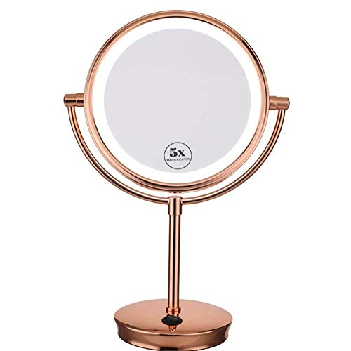 Mirror Double Sided 1x+5x Vergrößern Glas Rose Gold USB Aufladen Spiegel Lampe rotieren Dressing Table Round Switch Button Naturlicht 20 * 36CM