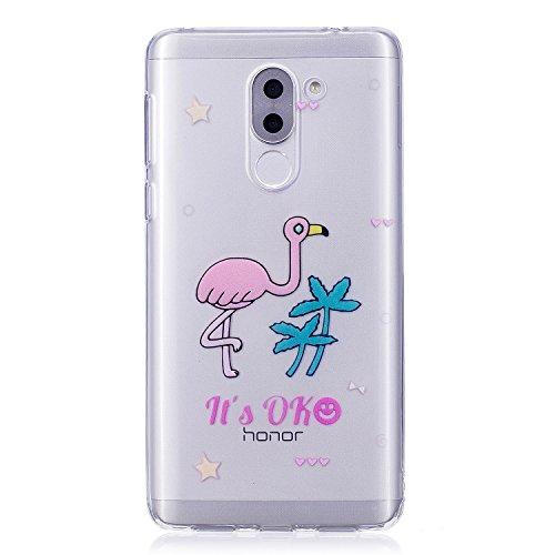 Preisvergleich Produktbild Honor 6X Hülle, Huawei Honor 6X Hülle Silikon, Honor 6X Schutzhülle, Cozy Hut ®[Liquid Crystal] 3D Romantik Flower Animal Cartoon Series Transparent Weiche Silikon Malerei Muster Hülle [Kratzfest] Anti-Fingerabdruck,Scratch und Staub-Ultra Dünn Durchsichtige Silikon Schutzhülle TPU Case für Huawei Honor 6X 5.5 Zoll - Cartoon Flamingo