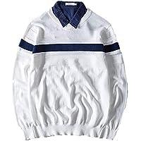 ZYZHJY Men 'S Jersey De Manga Larga Jersey Stripe Jersey De Punto,Blanco,XL