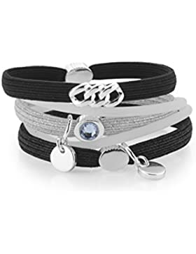 The Rubz 100290 Damen Armband Haargummi HAIR TIES Stoff schwarz grau 18 cm
