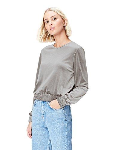 FIND Top de Terciopelo para Mujer, Gris (Grey), 38 (Talla del Fabricante: Small)