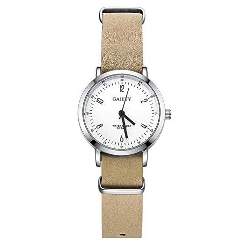 Sonew Herrenuhr Luxus-Mode-Legierung Fall Analog Quarz Lederband Uhr Mens Casual Business Wasserdicht Runde Armbanduhr(Beige)