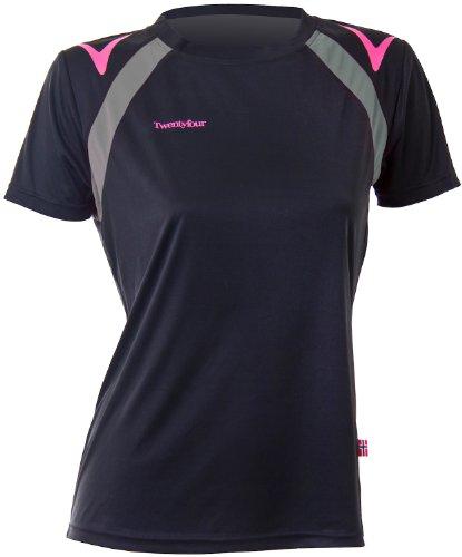 Twentyfour Damen Motion-Leichtes Lauf Trainings Shirt in frischen Farben, Schwarz, 34, 425405