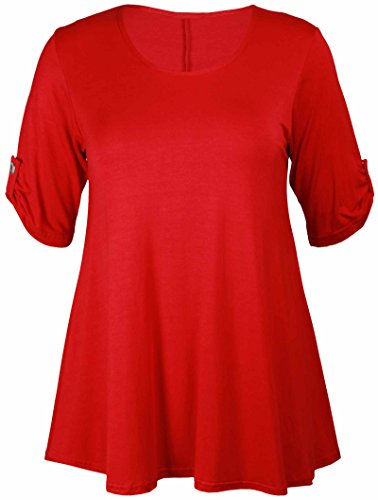 Sparkle, 3/4-Ärmel T-shirt (Purple Hanger - T-Shirt Top Damen Übergröße Elastisch Runder Ausschnitt Geknöpft 3/4 Ärmel - 54-56, Rot)
