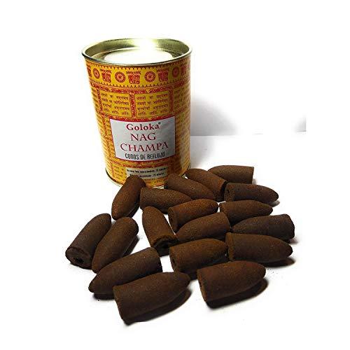 conos de reflujo nag champa goloka 18 conos grandes en una lata de diseño cartón y metal