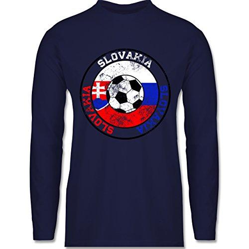 Shirtracer Fußball - Slovakia Kreis & Fußball Vintage - Herren Langarmshirt Navy Blau