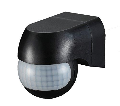 Sensor de movimiento Ukew - infrarrojo (PIR) para luces exteriores, 180 grados, negro, IP44