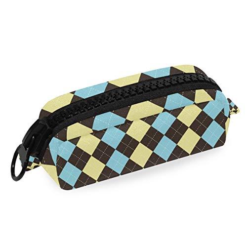 Federmäppchen mit großem Reißverschluss, geometrisches Muster, mit Argyle-Muster, für Teenager, Mädchen, Jungen, Schulstudenten, Schreibwaren (Argyle Stoff)