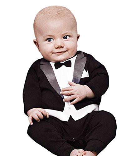 YOUJIA Baby Strampler Smoking für Jungen Anzug Mit Fliege Für Kleinkinder 0-24 Monat Süßes Geschenk Für Eltern mit Babies (Schwarz,70CM) (Süße Schwarze Kleinkinder)