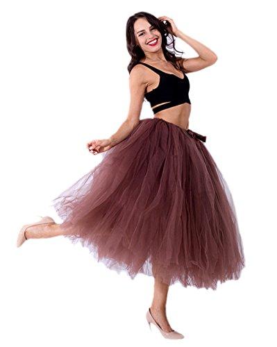 URVIP Damen's Tüllrock Maxirock Lang Tüll Rock Tutu Hochzeit und Party Prinzessin Ballettrock One Size Braun
