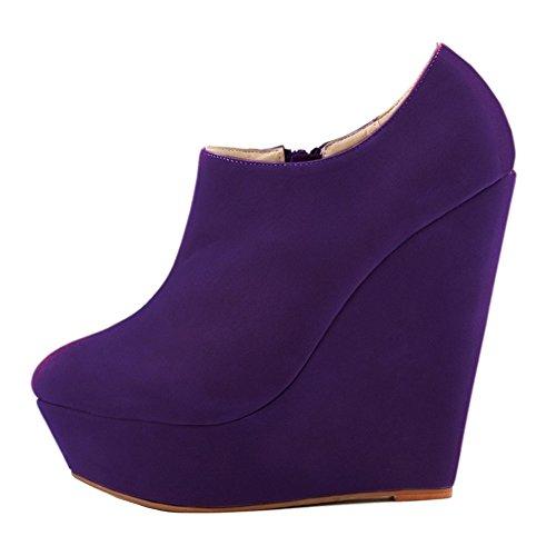 HooH Femmes Sexy Fanelle Wedge Escarpins Roma Boots Violet