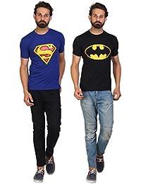 AKAAS Men's Superman & BatmanT-Shirt Combo