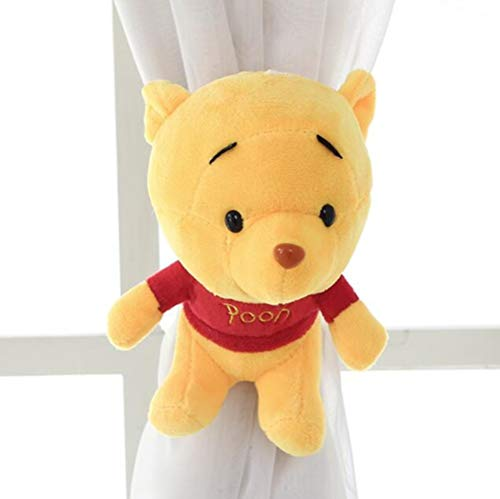 MEILINGSHU Lace Flower Curtain Strap Hooks Curtain Buckles Tie Straps Lega Un Paio di Clip per Tende Europee, Giallo, Winnie The Pooh