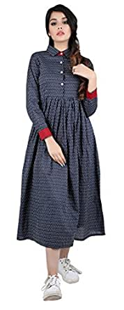ANAYNA Women's Cotton Printed Long Dress with Shirt Collar (Navy Blue) (S)