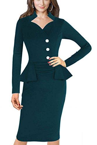 Frauen gefälschte 2 Stück Büro Kleid figurbetonten Kleid Green