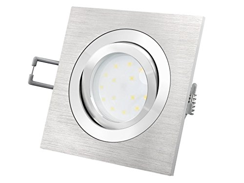 LED Einbaustrahler flach (30mm) dimmbar - QF-2 eckig Alu gebürstet schwenkbar mit 5W LED Modul...