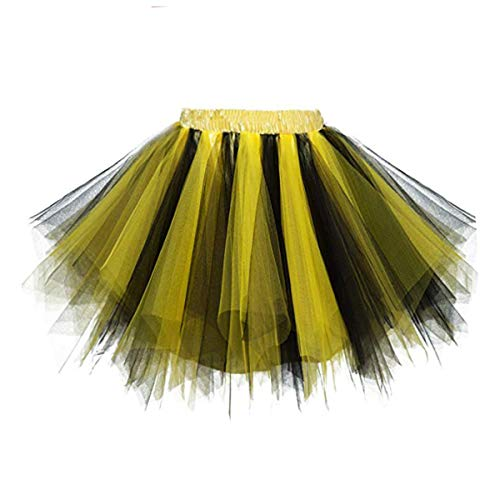Lollipop Girl Kostüm - GirstunmBrand Damen 50er Vintage Tüllrock Petticoat Mehrfarbig Bubble Tanzkleid Rock Schwarz Gold-XXL