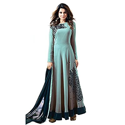 Generic Women's Georgette Semi Stitch Salwar Suit (Ethnic_ER11083_Sky Blue_Free Size)