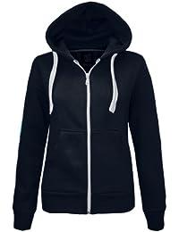Cexi Couture Veste à capuche en polaire pour femme Uni  - Bleu - Bleu marine - Tailles UK : 6 (XS) / 8 (S/M) / 10 (S/M) / 12 (M/L) / 14 (L/XL)