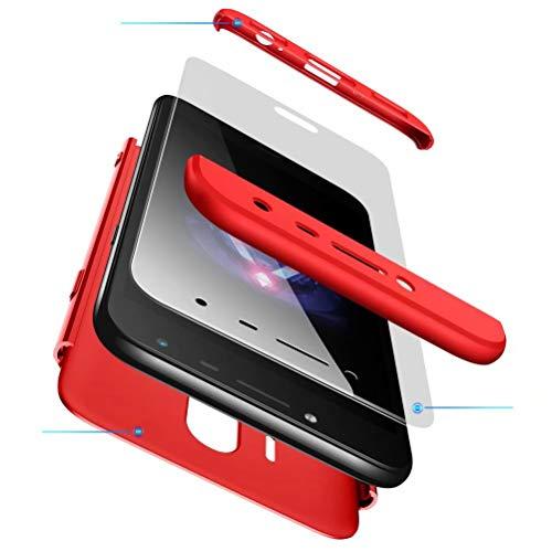 AILZH Coque Samsung Galaxy J7 2017 Étui+Film de Verre trempé 360 degrés Housse PC Hard Shell Anti-Choc 360° Full-Cover Case Scratch Pare-Chocs Matte Casque de Protection(Rouge)
