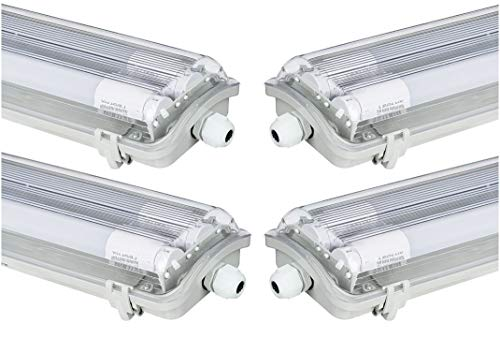 4x G13 LED Feuchtraumleuchte 2x T8 LED, 36W 3600LM 120cm, IP65 LED Feuchtraumwanneneuchte, LED Wannenleuchte, 4000K Neutralweiss CRI80 (4x NW) - Mittlere Fassung