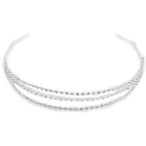 Ecloud Shop 3 Reihig Strass Haarreifen Haarschmuck Diamant Metall CHARMS