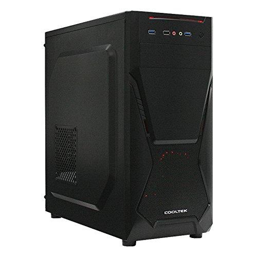 Cooltek X5, ATX Midi Tower, 2 x USB 3.0, 1 x USB 2.0, schwarz (Beleuchtete Tower-gehäuse)