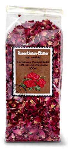 Rosenblüten-Blätter ganz (Sorten-rein) 500ml mit herrlicher Farbe und Duft- 100{7192ff32fd7ca4790ea2d2b0ec14f02a7895093ef100f08377ead58adb621cd9} Premium-Qualität - Schonend HANDVERPACKT In Deutschland - Ein Marken-Produkt aus der Valdemar Manufaktur