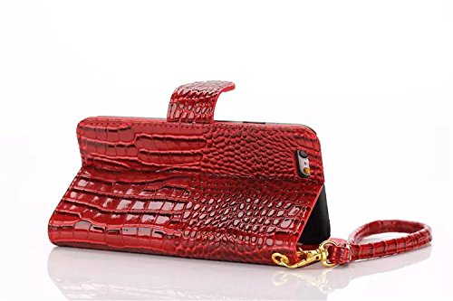 EKINHUI Case Cover Krokodil Pattern PU Ledertasche, Horizontale Flip Stand Folio Wallet Holster Case Cover mit Lanyard & Card Slots für iPhone 6 Plus & 6s Plus ( Color : Red ) Red