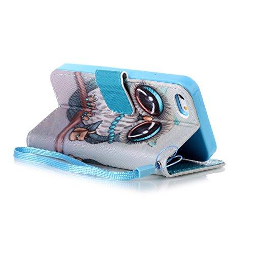 Felfy Handyhülle für iPhone SE,iPhone 5S Case,iPhone 5 Ledertasche Hülle Ultra Slim Flip Leder Etui Ledertasche Schutzhülle Case Cute Muster Farbe Handy Lanyard Mode Tasche Schutz Scratch-Resistant Pr Grau Eule case
