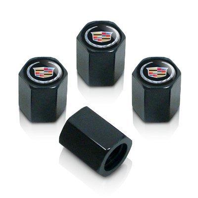 cadillac-argent-logo-noir-tige-bouchons-de-valve-de-pneu